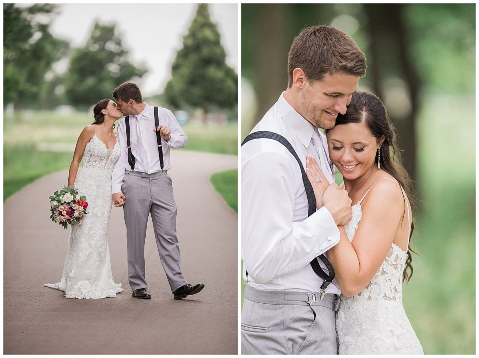 Romantic couple during their wedding day.