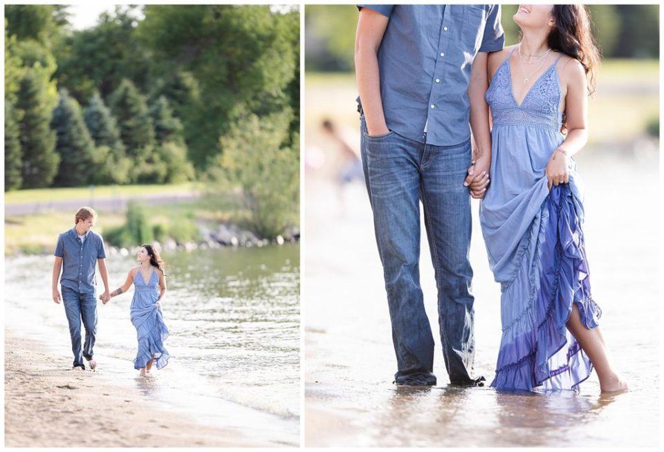 Engaged couple walking together at Wall Lake, South Dakota during engagement session at sunset