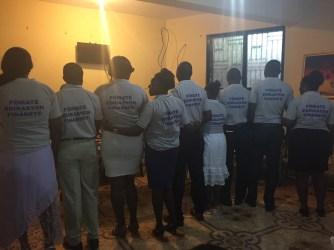 "The trainers in their shirts, ""Fomaté Edikasyon Finansye""."