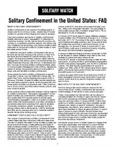 FAQ Solitary Watch
