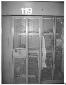 Front view of cell D1-119. The locked tray slot is where I get my food trays, mail, etc - CPW.