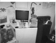 View f sink and toilet and desk area with TV (Credits California Prison Watch)