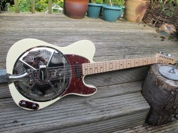 """Recent conversion from a cream bodied Squier. Lovely guitar, its new owner Patrick says """"Guitar arrived an hour ago.........it's incredible not to mention beautiful...... Thank you so much, it really is fantastic. I am totally blown away by this guitar, it really is awesome.. I put a skinny brown leather strap with shoulder pad on it.. It's just gorgeous !!"""""""