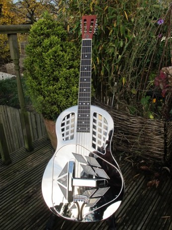 "One of these lovely Busker Deco Tri-cones now has a new home with a very happy owner who said ""Special unwrapping took place and I can now say it has settled in to its new home. Looks and sounds great so post-Christmas I will be starting the challenge of learning a new playing style."""