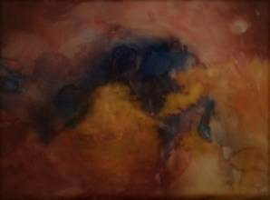 """Geborgen"", 1995, Aquarell, 30 cm x 22 cm"