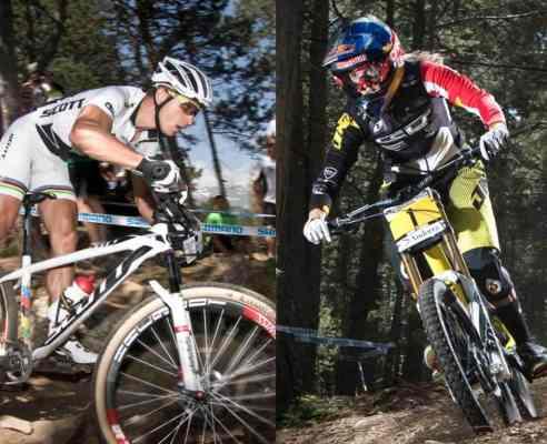 Nino Schurter y Rachel Atherton en Vallnord. Fotos: Jesús Martínez.