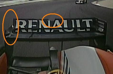 El alerón de trasero de Fernando después del golpe. Rodeados en naranja los daños.