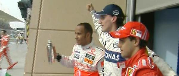 1º Kubica, 2º Hamilton, 3º Massa