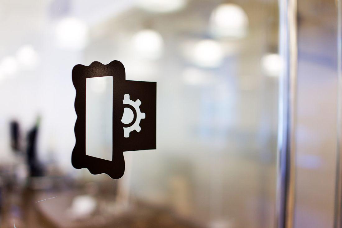 Layervault Office Door Logo