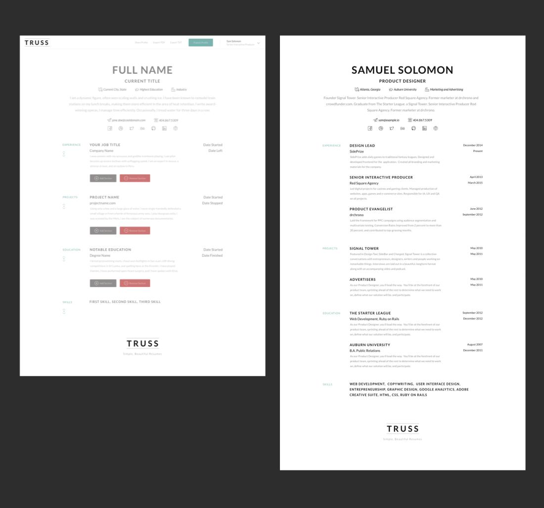 Simple Resume Builder Example
