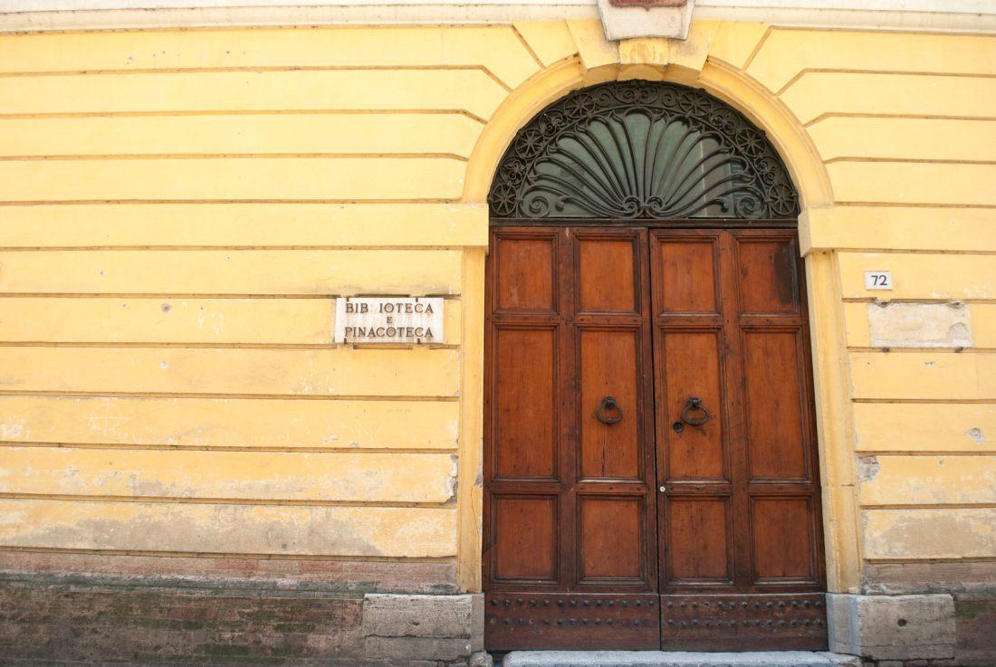 Door to a Pinacoteca in Bevagna Italy