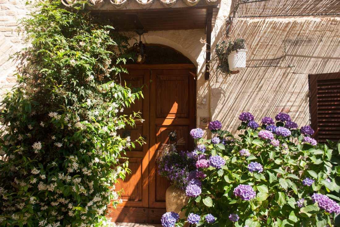 A flower-covered doorway in Montefalco
