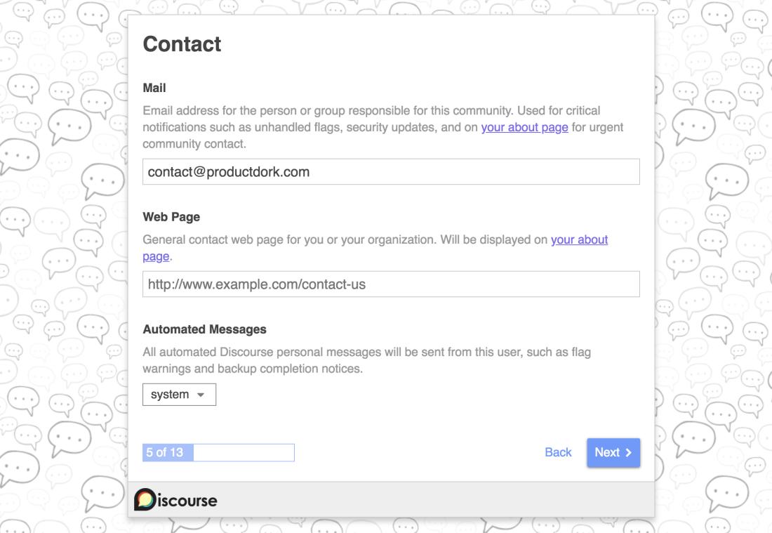 discourse setup contact information