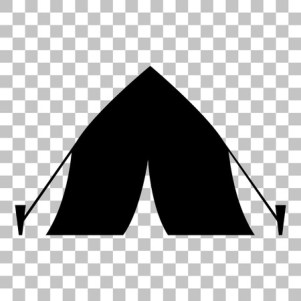 58472409 - tourist tent sign. flat style black icon on transparent background.