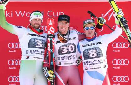 GARMISCH-PARTENKIRCHEN,GERMANY,30.JAN.16 - ALPINE SKIING - FIS World Cup, downhill, men, award ceremony. Image shows Bostjan Kline (SLO), Aleksander Aamodt Kilde (NOR) and Beat Feuz (SUI). Keywords: Stoeckli. Photo: GEPA pictures/ Harald Steiner