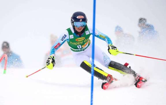 CRANS-MONTANA,SWITZERLAND,15.FEB.16 - ALPINE SKIING - FIS World Cup, slalom, ladies. Image shows Mikaela Shiffrin (USA). Photo: GEPA pictures/ Christian Walgram