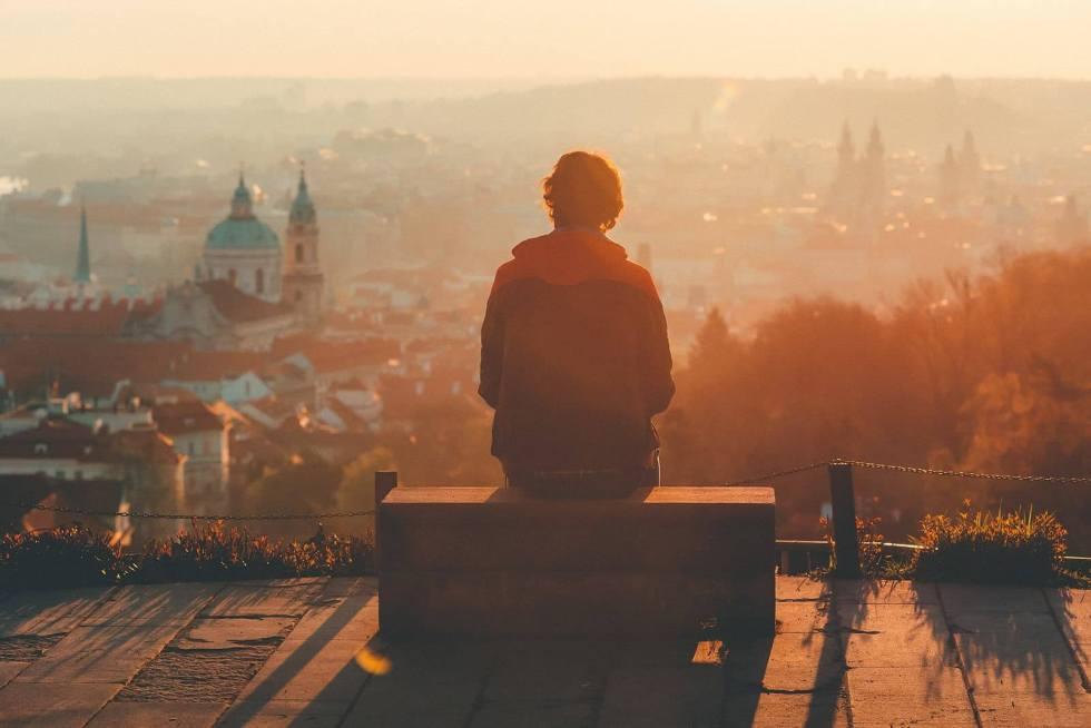 Aussicht auf europäische Stadt