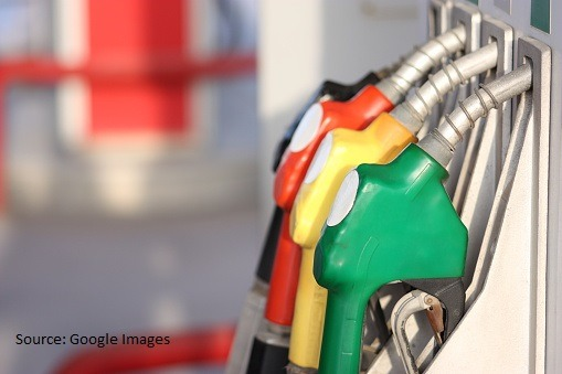 Different types of fuel pumps identified with colors