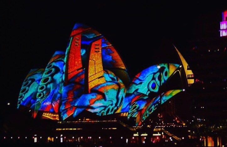 The colorful lights of Sydney vivid