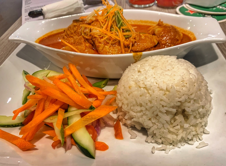Chicken curry with rice in Kuala Lumpur airport