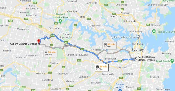 Sydney to Auburn Botanical Gardens