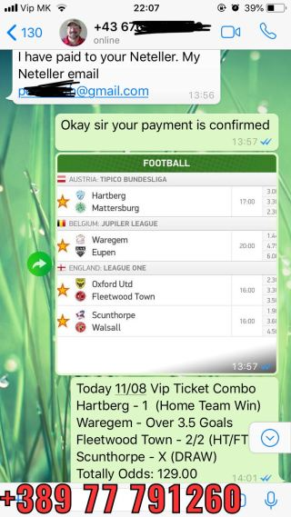 vip ticket fixed matches combo