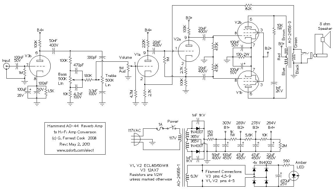 Amplifier Wiring Diagrams For 3 Hammond Ao 44 Reverb Amp To Hi Fi Amp Conversion