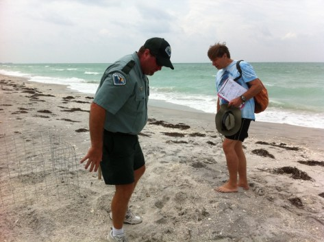Park Manager Shows Dr. Beach How Sea Turtles Nest on Don Pedro Island State Park, Fla.