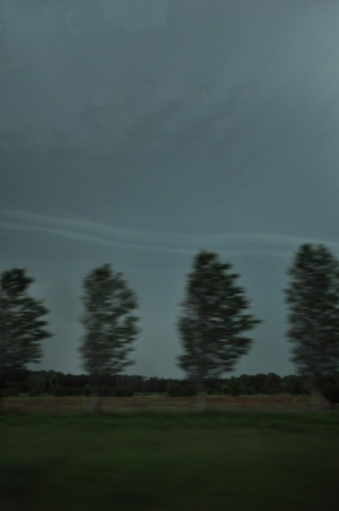 Storm and Trees Seen While Driving N.Y. State Thruway I-90 South Near Dunkirk