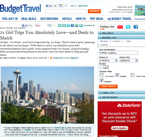 BudgetTravel.com Article Included Solo Travel Girl Blog's Pacific Northwest Girlfriends Getaway