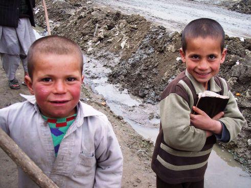 Smiling Boys in a Kabul, Afghanistan, Neighborhood, March 2006