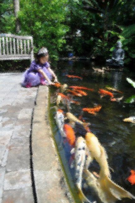 Princess and the Koi, Selby Botanical Gardens, Sarasota, Fla.