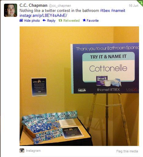 C.C. Chapman Tweet About Cottonelle's #NameIt #TBEX Contest & Sponsorship