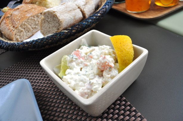 Cottage Cheese with Shrimp and Crab Meat for Sunday Brunch at Place Lorette in Marseille, France