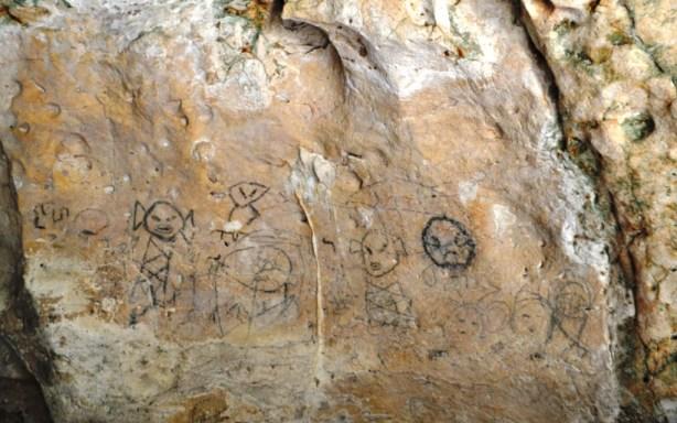 Pictographs Inside Cueva de la Línea at Los Haitises National Park, Dominican Republic