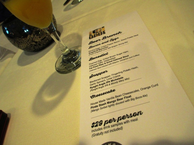 Beer Brunch Menu at OPUS Restaurant with Fat Point Brewing, June 29, 2014