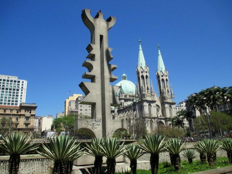 One of Many Sculptures Near São Paulo Metropolitan Cathedral, São Paulo, Brazil, Sept. 2014.