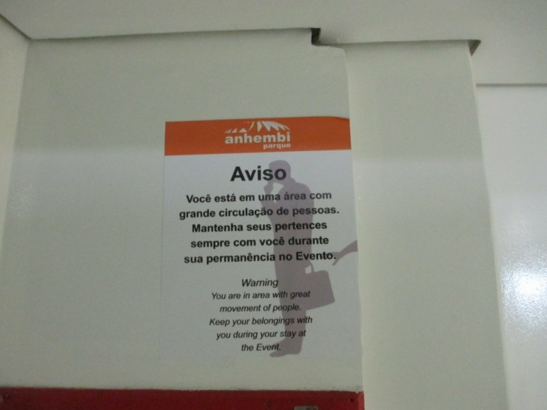 Sign Warning to Keep Tabs of Your Belongings at the Convention Center Where ABAV Took Place, São Paulo, Brazil.