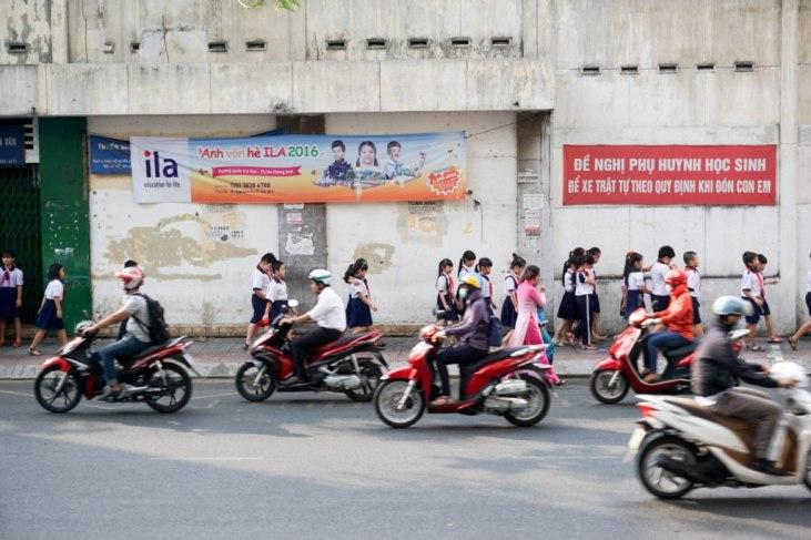 School Children and Motorbikes, Ho Chi Minh City, Vietnam, April 2016