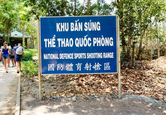 National Defence Sports Shooting Range Sign at Cu Chi Tunnels Near Ho Chi Minh City, Vietnam, April 2016