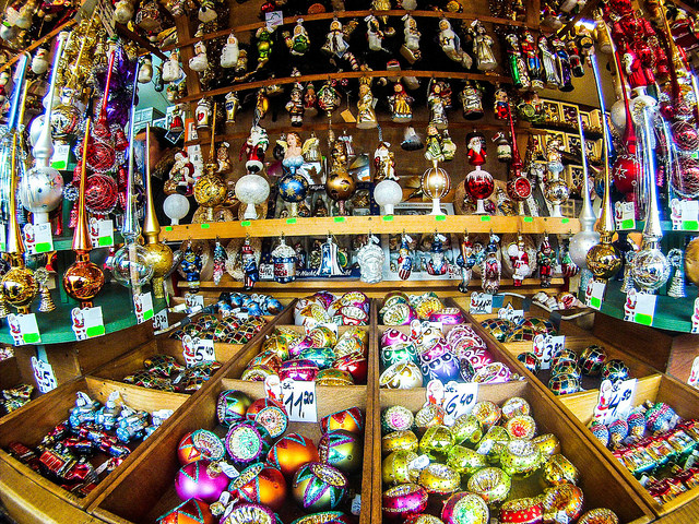 Ornaments at a Christmas Market in Germany Make Excellent Holiday Gifts.