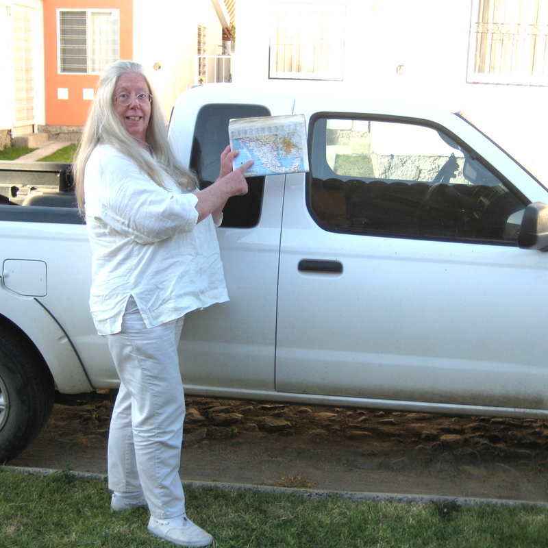 Barb Showed Me Her Map and Truck She Used to Drive Through Mexico and to Her New Home in Jocotepec Jalisco. Photo: Nov. 2008