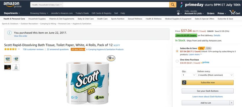 Subscribe & Save on Amazon on Scott Rapid-Dissolving Toilet Paper