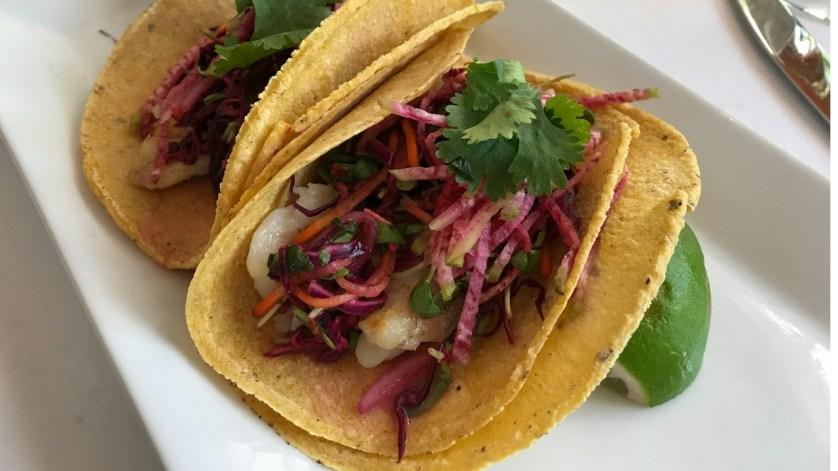 Lion Fish Tacos in Corn Tortillas with Veggies Grown On Site at Shangri-La Springs in Bonita Springs, Fla.
