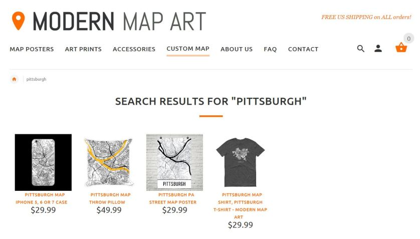 A Sampling of Artful Products from Modern Map Art.