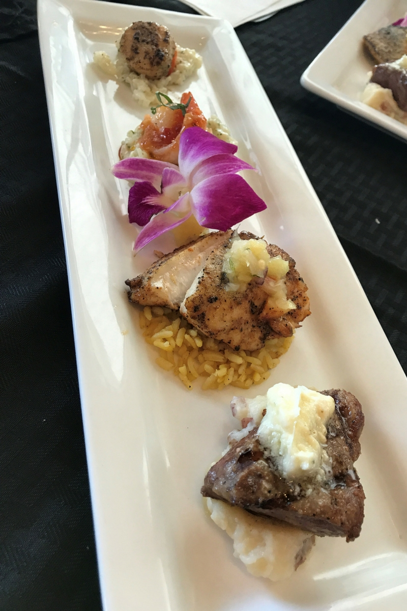 Leverock's Seafood House - New York Strip, Blackened Redfish, Thai-Inspired Shrimp and Seared Scallop.