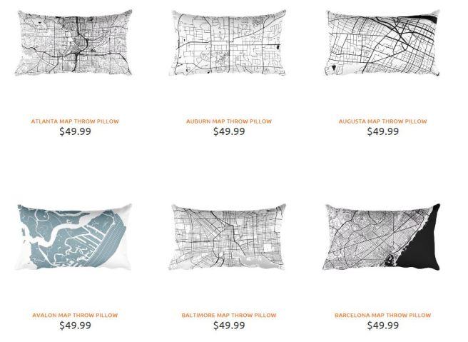 Map Throw Pillows from Modern Map Art