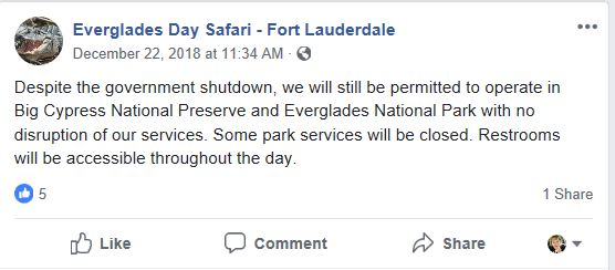 Since Dec. 22, 208, Everglades Day Safaris has had this Facebook Post Pinned to Their Page.
