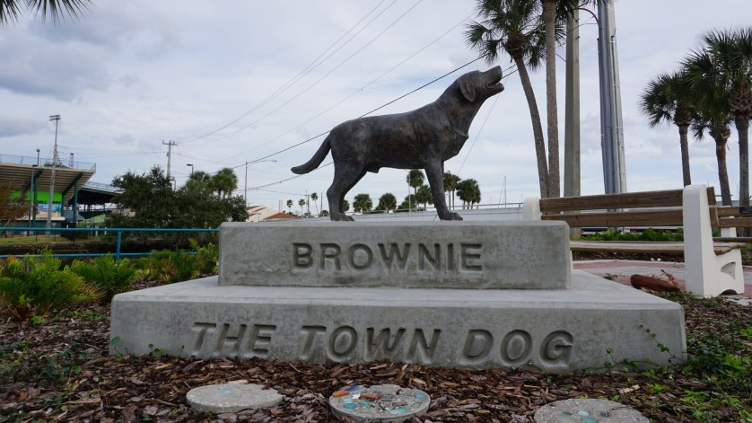 Brownie the Town Dog Statue on the Sweetheart Trail in Riverfront Park in Daytona Beach, Fla. Dedicated June 12, 2018.