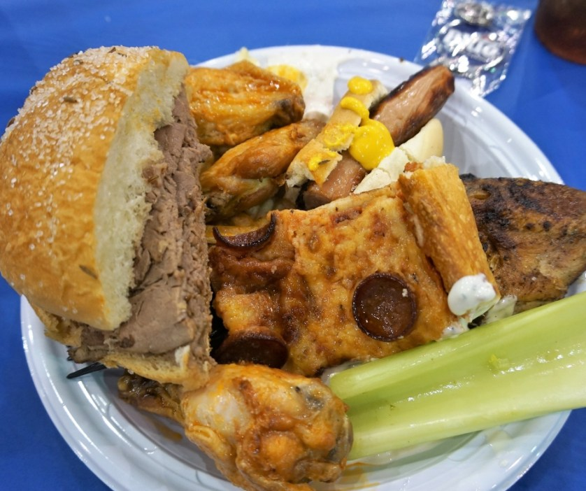 Yumola! That's a Big Taste of Buffalo on My Plate. Includes Beef on Weck, Wings, Sahlen's Hot Dog, Casa Di Pizza, Chiavetta's Barbeque Chicken, and Buffalo Dip.